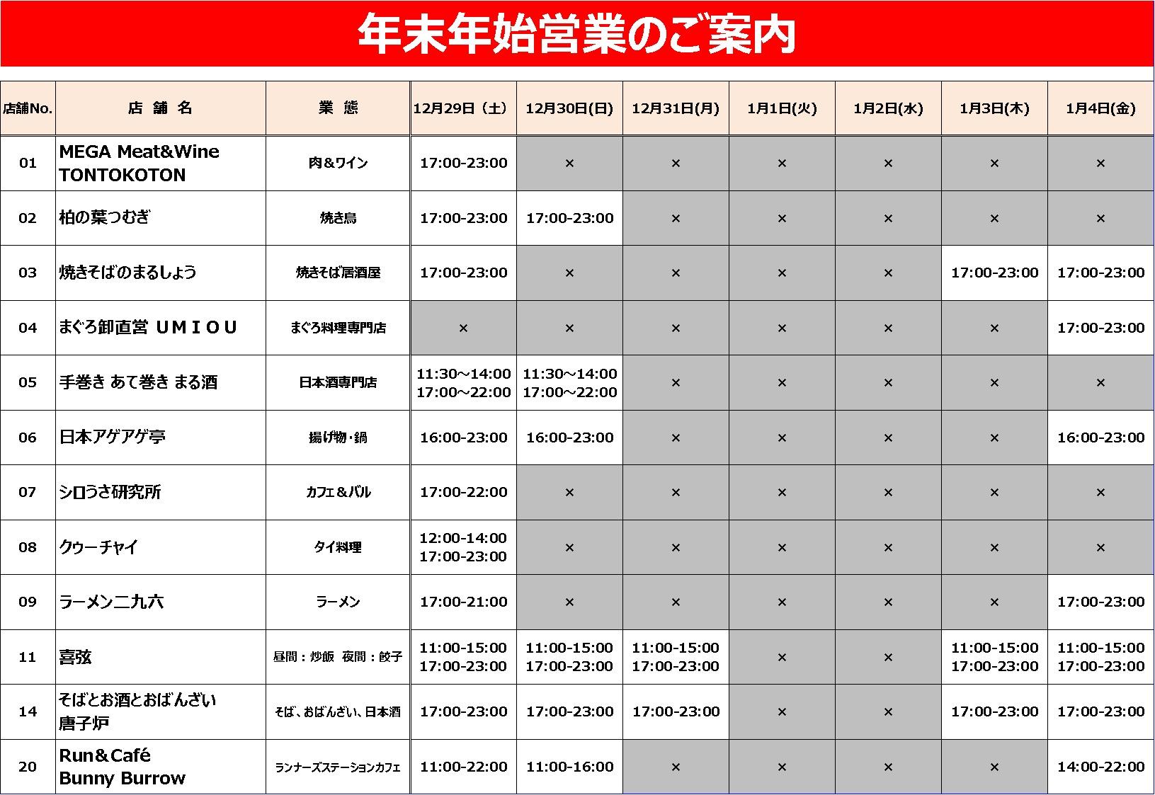 年末年始休業のご案内(2018-2019年度)